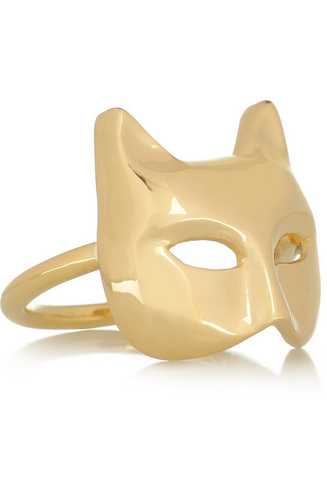 anita ko 18-karat gold cat mask ring.