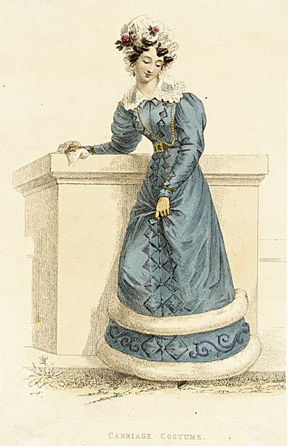 Ackermann's Repository, Carriage Costume, April 1826.  Oh I love, love, love the decorative elements on this gown!  The diamond and scroll trim is really whimsical and charming and the big bands of fur are beautiful!