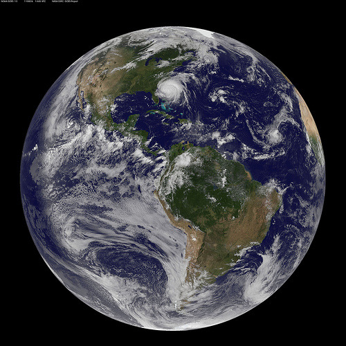thedailywhat:  Satellite Image of the Day: The NOAA/NASA GOES-13 weather satellite captured this image of Hurricane Irene this morning at 10:45 AM EDT. (Embiggen.) At the time, Irene was nearly a third the size of the entire East Coast. [nasa.]