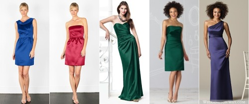 Trying to decide which color I like best for the flower girls with the emerald/hunter green of the bridesmaids and the amethyst/royal purple of the MOH. Image source: Weddington Way (create a login, save your favorites, and design line-ups to see side-by-side comparisons) — so much fun!)