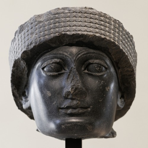 Head of Gudea, prince of Lagash. Diorite, Telloh (ancient city of Girsu), ca. 2120 BC.
