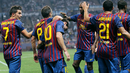 Barcelona Win UEFA Super Cup Barcelona take on FC Porto in the UEFA Super Cup with Messi and Fabregas getting in on the action. for final score and game recap. check out: http://soccernet.espn.go.com/gamecast?id=331104&cc=5901