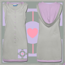 "fuckyeah-portal:  Portal Companion Cube Hooded Dress. Available in sizes S-L. Check out the ""For The Gamer Geek"" section in the store for more companion cube items. <3 Follow Much Needed Merch on Tumblr and or Facebook (10% off code)  submission from muchneededmerch"