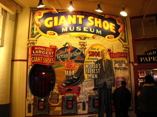 """World Famous Giant Shoe Museum"" carnival signage from the Pike Place Market, Seattle, via klg19"