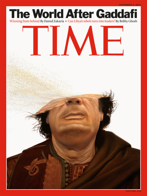 Tim O'Brien's wonderful Gaddafi Time Magazine cover Tim O'Brien did the X'd out Osama bin Laden cover for Time and now he's made an even more stunning cover about the all of Muammar Gaddafi.  Via