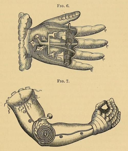 biomedicalephemera:  Late 16th century artificial arm and hand for the well-to-do man designed by Pare. Orthopraxy: the Mechanical Treatment of Deformities, Debilities, and Deficiencies of the Human Frame. Henry Heather Bigg, 1877.