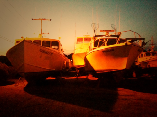 Boats pulled out of the water awaiting hurricane Irene, Diamond Cove marina, Montauk