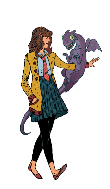 Kitty Pryde with Lockheed, her purple pet space-dragon. I had a giant, hopeless crush on Kitty Pryde as a kid.  But I knew that I could never compete with Colossus.    Drawing by Jake Wyatt tumblr blog