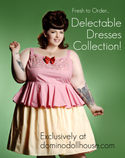 dollyminx:  dominodollhouse:  Now available: our Delectable Dresses Collection!  Choose from our Berry Beautiful Dress (seen previously), Cupcake Cutie (seen above), and our Wow-termelon Dress.  These dresses come in standard 1X-4X and run $69.99-79.99.  I'm insanely excited to debut these.  I've had the concept in my noggin since years before I opened up my shop…and now it's a reality!  They turned out so great <3.