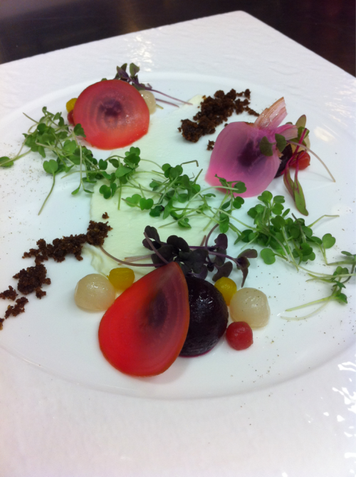 New salad, but my plating is too playful for APBC.   Beets cut into demispheres, and cooked sous vide at 85C for varying times depending on the thickness, Pickled Candystripe beets, dressed with white balsamic vin., pumpernickel crumbs, and goat cheese. Garnished with micro arugula, opal basil, and celery.