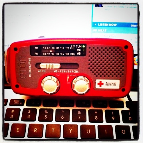 I've got a turbo red Eton Microlink FR160 radio tuned to WNYC that also has a flashlight, can charge my iPhone, and is powered by a crank. Do your worst, Irene. I got this.  *This example of Supreme Emergency Preparedness brought to you by my parents and what I'm 98% sure was a KQED pledge gift.