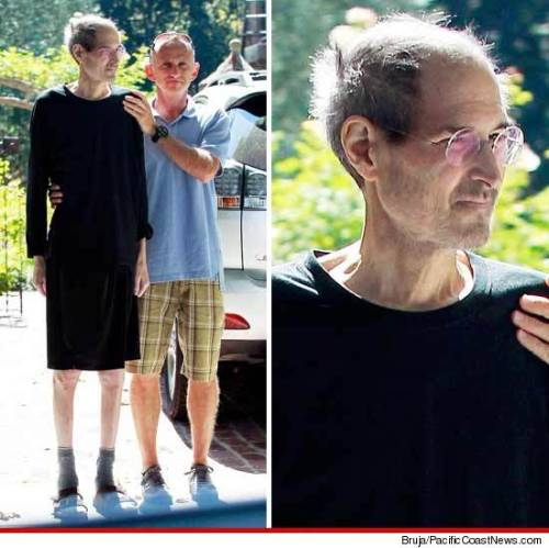 "shortformblog:  brooklynmutt:  ""These new pictures of Steve Jobs are heartbreaking. I hope it gives him peace to know he changed the world."" - Bart Hubbuch, @NYPost_Hubbuch  We don't know how they got these photos, but they're heartbreaking. Holy crap. This isn't the Steve Jobs of even a few months ago."