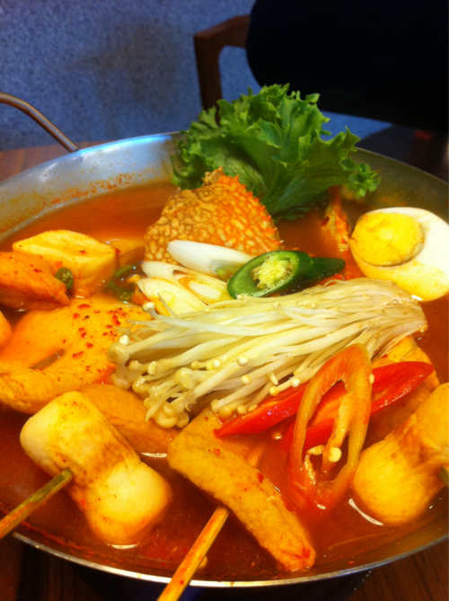 Korean food: seafood hot soup