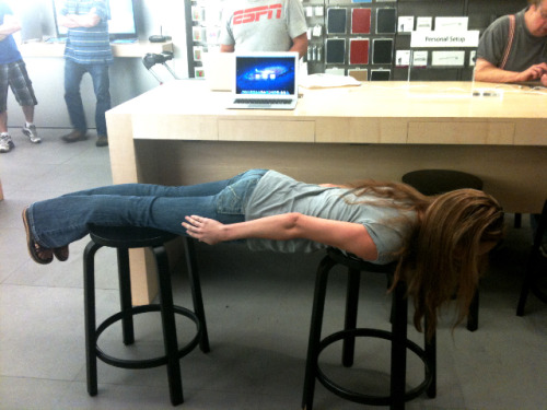 Apologies to Brandi for taking to long to put up this pic of her planking in an Apple Store. We were taking that time trying to figure out why what appears to be a non-Hagrid looking female acknowledged our existence.