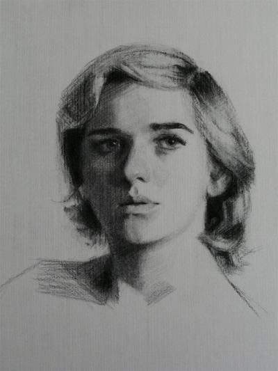 Portrait by sophiehound on Flickr. Charcoal sight-size drawing from life on Roma paper. 8-10 hrs