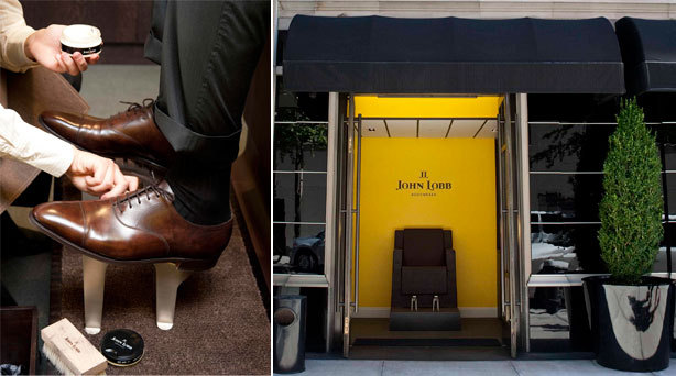 The new John Lobb shoe service chair outside The Mark Hotel on East 77th street. If you're looking for a place to get some shine into your shoes, try John Lobb's new Upper Eastside stand alone shoe shine chair.