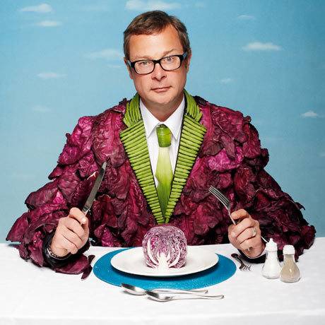 "Hugh Fearnley-Whittingstall's written a vegetarian cookbook!  If you're not from the UK, you might have never heard of their beloved TV chef who cooks up delicious looking food that's grown and raised on his country farm.  His recipes are great for their simplicity and their often unique spin on classics. Though he's known to be a master of the great British Sunday roast, he has switched his eating habits, and with it has come a new vegetarian cookbook!  He seems to be following in the footsteps of one of my favourite cooks/writers Mark Bittman, still eating meat, but strongly advocating eating less of it and more vegetables.  As Hugh explains: ""Why? To summarise, we need to eat more vegetables and less flesh because vegetables are the foods that do us the most good and our planet the least harm. Do I need to spell out the arguments to support that assertion? Is there anyone who seriously doubts it to be true? Just ask yourself if you, or anyone you know, might be in danger of eating too many vegetables. Or if you think the world might be a better, cleaner, greener place with a few more factory chicken farms or intensive pig units."""