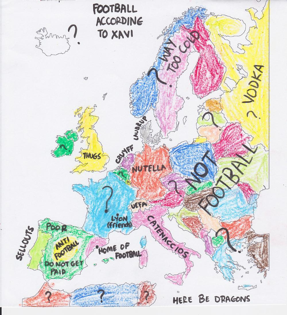 cheekychip:  Our very own Saheli RC with her map of Europe, according to Xavi. Or… why she should be banned from free time and crayons. HERE BE DRAGONS!