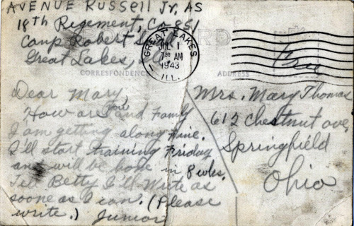 Dear Mary Avenue Russell Jr., 18th Regiment, 1943 [PFC Stephen Thomas' Album] [Black Soldier Series] ©WaheedPhotoArchive, 2011  This is the back of the photo postcard below.