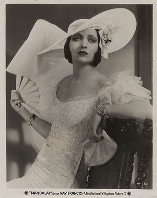 Kay Francis (January 13, 1905 – August 26, 1968) was an American stage and film actress. After a brief period on Broadway in the late 1920s, she moved to film and achieved her greatest success between 1930 and 1936, when she was the number one female star at the Warner Brothers studio, and the highest paid American film actress. Some of her film related material and personal papers are available to scholars and researchers in the Wesleyan University Cinema Archives.