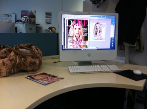 Becoming quite fond of my working desk during my Intern :) The company produces an impressive handful of well known magazines so I'm learning so so much to do with magazine design, magazine production, print, online magazine design as well as the research and content - basically everything that goes on. so much fun and great people on the team, especially the magazine I'm on. want this job yes please