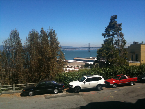 And now is the time for great views of the Bay Bridge.   Montgomery St at Greenwich.