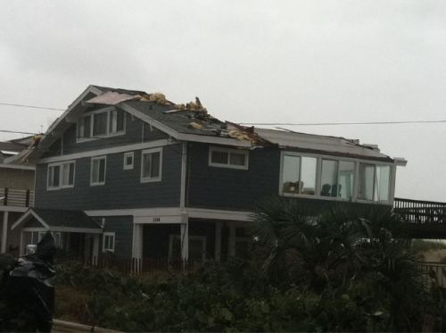 From Sandbridge, Virginia Beach: Roof damage from the Virginia Beach area. There have been reports of a possible tornado touchdown in the region — including a report from one of the local news stations, WAVY. Three homes reportedly had their roofs torn off. (photo via @wattsupbrent of Roanoke, Va. station WDBJ; tip via brosephstalin)