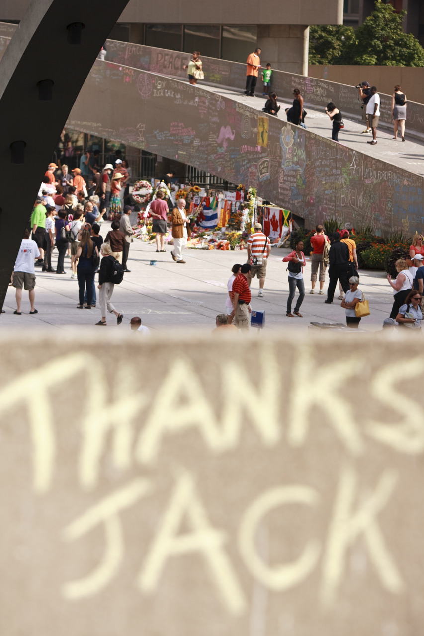 Thousands of people have contributed to the chalk wall in tribute of the late Jack Layton. Geoff Robins/AFP/Getty Images