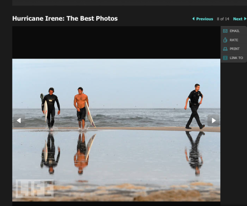 clambake:  Apparently Hurricane Irene causes photographers to snap photos of babely surfers.