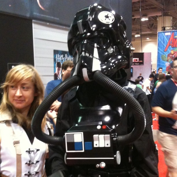 I'm sure the Toronto Parking Authority has ticketed his Tie Fighter by now. #fanexpo #cosplay #starwars (Taken with instagram)