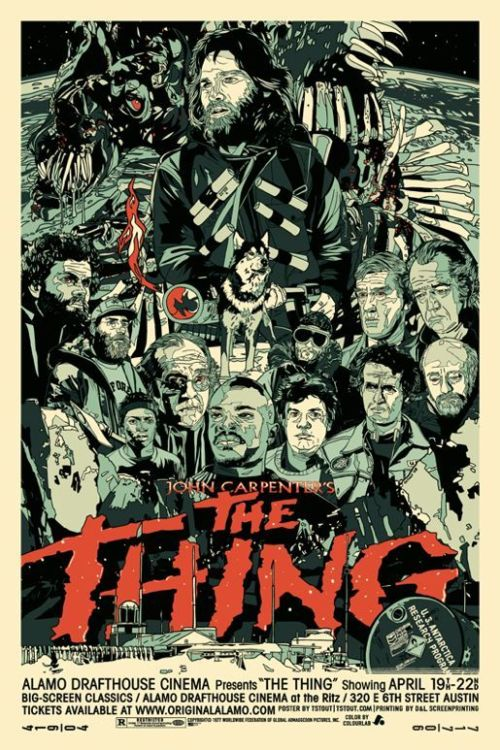 "chamberlain:  chrisreblogs:  John Carpenter's The Thing is one of my all time favorite movies. Definitely my favorite horror film. Recently Escape Pod played ""The Things"" written by Peter Watts, a short story from the point of view of the 'monster.' It is pretty darn great. It really hinges on knowing the film. Maybe you can get by with the original short story ""Who Goes There?"" by John W. Campbell Jr.. I don't know I haven't read it. But if you've seen the movie, I can't recommend it highly enough.  The Thing is too my favorite horror movie; listened to this last night. Supremely cool. Also, shout out to that Tyler Stout print above.  I've been trying to curb my internet ramblings lately, but someone posted a VERY INTERESTING link on Metafilter the other day containing an in-depth analysis (via 2 part youtube video) of whether Childs was infected or not: http://goo.gl/9IycZ and I absolutely had to repost it. THE THING RULES."