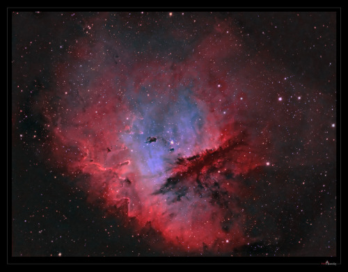 Look through the cosmic cloud cataloged as NGC 281 and it's almost easy to miss stars of open cluster IC 1590. But, formed within the nebula, that cluster's young, massive stars ultimately power the pervasive nebular glow. The eye-catching shapes looming in this portrait of NGC 281 are sculpted columns and dense dust globules seen in silhouette, eroded by intense, energetic winds and radiation from the hot cluster stars. (More) [Credit to J-P Metsävainio (Astro Anarchy)]