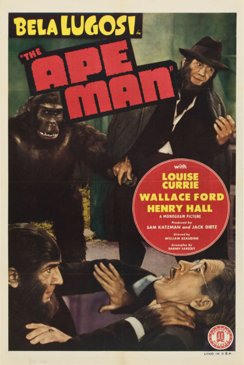greggorysshocktheater:  One sheet for The Ape Man (1943)