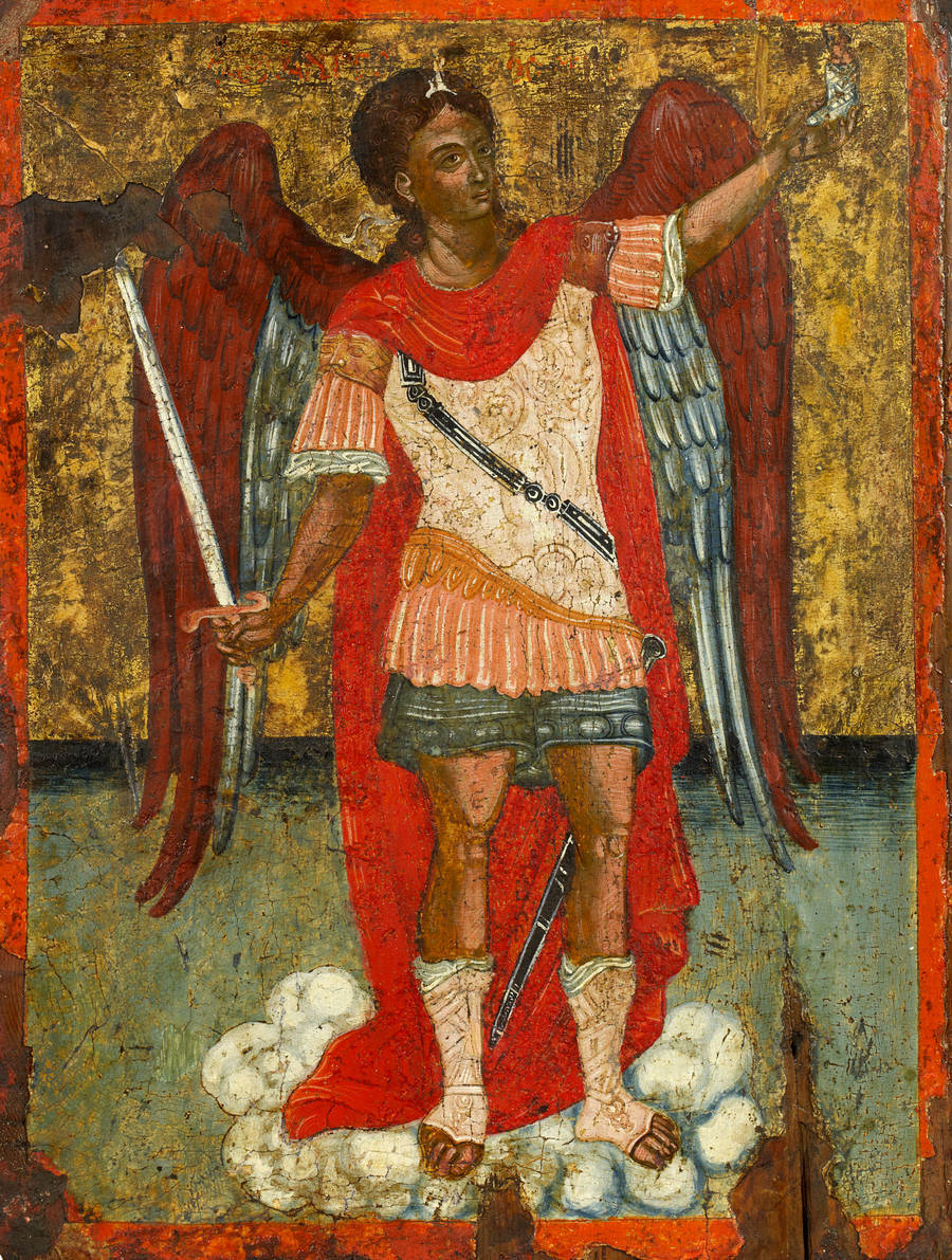 Cloggy:—- Archangel Michael in his boots. He is the only angel allowed to wear boot and leads the Heavenly Host into battle. Another gem of useless information I picked up in my Pub Sign photting days. missfolly:  Archangel Michael by an Ionian artist, 1700s
