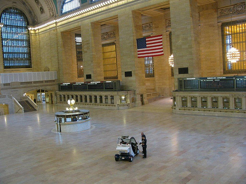 """Hurricane Irene: MTA Police finished securing Grand Central Terminal after the last trains departed."""