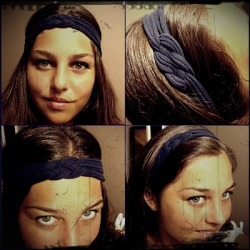Knotted headband made by me. Tutorial: http://youseriouslymadethat.blogspot.com/2011/02/knotted-headband.html