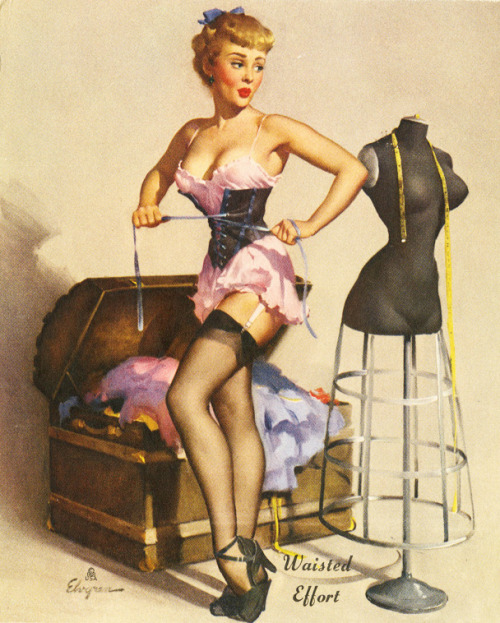 "vintagegal:  ""Waisted Effort"" by Gil Elvgren 1950"