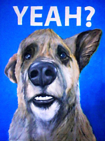 "An acrylic painting on canvas of the ""Ultimate Dog Tease."""