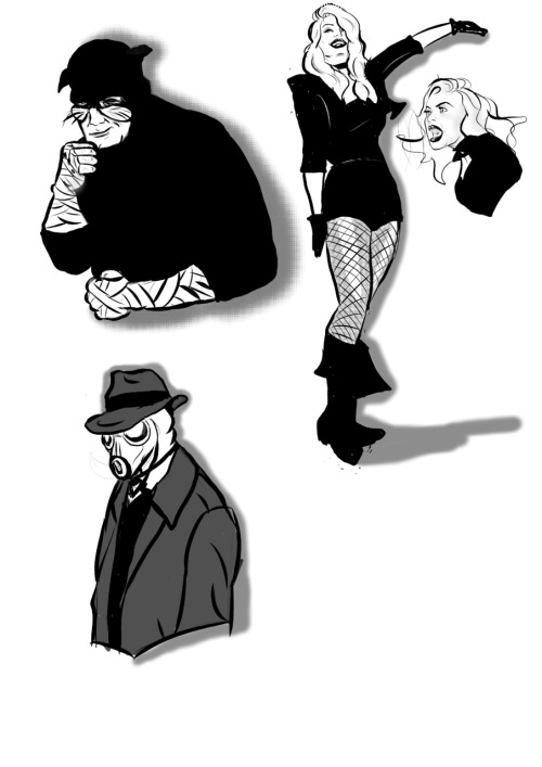 I doodled some of my favourite  JSA characters. I used this guy as a reference for Sandman but I changed the mask to be more golden age-ie.Black Canary: I tried to give her Veronica Lake hair but it's a lot less sleek than I wanted.Wildcat: I was trying to keep each one as close to 20 minutes as I could so by the time I got to the wrappings on his fists I'd gone way over and needed to get them done.