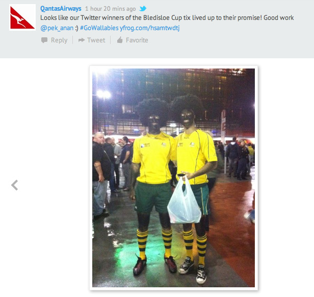nedhepburn:  Qantas Airways just posted this insanely racist photo on their Twitter.   A+ for fuckwittery.