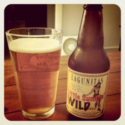 I need to find this as I like their IPA. beeradelphia:  A Little Sumpin' Wild – Lagunitas Brewing Co., Petaluma, CA. ABV: 9.4% Style: Belgian Strong Pale. Seasonality: Summer. Drank: 12 oz. bottle, pint glass. Pour: Dark golden color, with a white head. Leaves loose lacing. Aroma: Yeast, malt, and floral hops. Interesting. Taste: Flowery hops, with nice Belgian fruitiness and spice, and a great malt backbone. Mouthfeel: Medium bodied and dry. Incredibly interesting beer. Loads of hops, with spice and fruit notes of Belgian Pales. Fantastic brew. Food pairing: venison sausage, or smoked salmon. Click the picture to be linked to the brewery's website.
