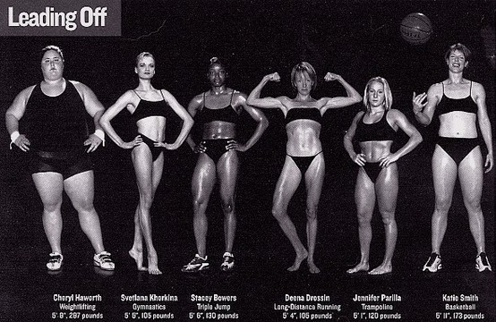 Each one of these women is an Olympic athlete. Let's challenge the notion that thinness is the only indicator of health and fitness.