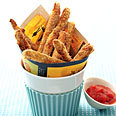 justeatyourveggies:  Baked Zucchini Fries for the junk foodie in you Per seving without sauce (makes 6): 170 calories, 2g fat, 1.5g fiber, 1.5g sugars, 6g protein. Per serving with sauce: 194 calories, 2g fat, 2.5g fiber, 6.5g sugars, 6.6g protein. Photo leads to recipe