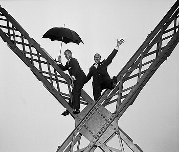 The legendary Nicholas Brothers, Harold and Fayard Nicholas on the Eiffel Tower in Paris, January 17, 1955.