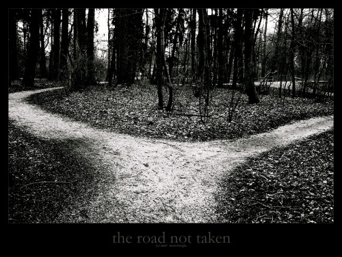 The Road Not Taken |Robert Frost  I shall be telling this with a sigh Somewhere ages and ages hence: Two roads diverged in a wood, and I— I took the one less traveled by, And that has made all the difference.