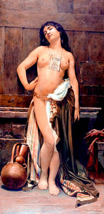 (via Exotic Painting: Beautiful Slave to Sale)  A slave on the market by the Brazilian painter Oscar Pereira da Silva (1867-1939). The sign between her breasts announces that she's a virgin...