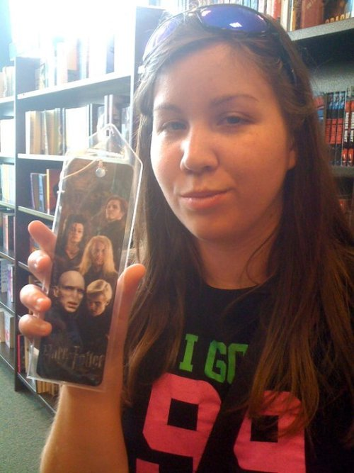 Found this epic bookmark with Scabior, Bellatrix, Draco, Lucius, and Voldemort at Barnes and Noble. Since when do they actually make villain paraphernalia? And sell it at B&N, no less?