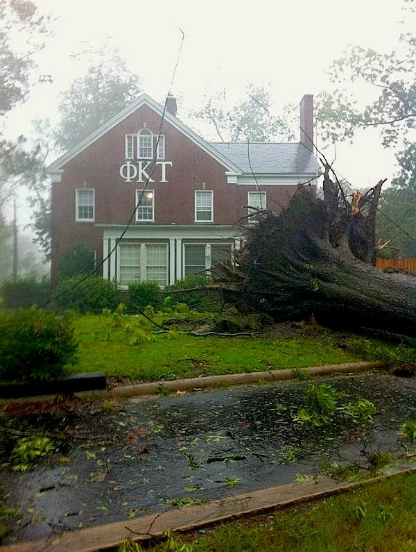 Knocked Down — Greenvill, North Carolina  |  Saturday, Aug. 27  Kyle Fulk submitted this photo of a tree that fell in front of his fraternity house at East Carolina University in Greenville, N.C. on Saturday.  [via MSNBC.com | Field Note]
