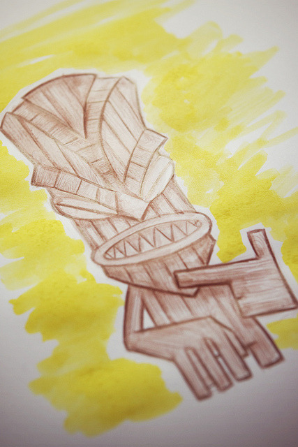 Tiki pencila and paint on Flickr.Via Flickr: Sunday morning scribbles