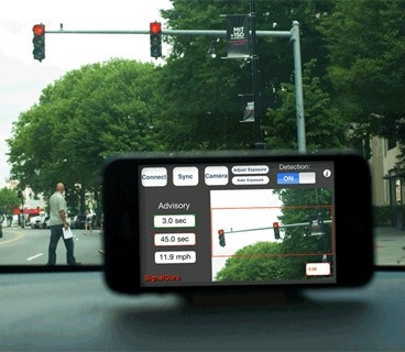 8bitfuture:  Experimental system uses smartphone network to make driving more efficient. Researchers from MIT and Princeton University have demonstrated their 'SignalGuru' system, which uses a network of dashboard mounted, GPS and camera equipped smartphones to analyse the timing of traffic lights to allow a more efficient drive across town. By having the smart phone mounted on the dashboard, the camera is able to analyse the timing of traffic light signals. This data is fed to a central server, which collates data from a network of phones, to get a picture of how all of the traffic lights in a city are operating - provided the network of users is large enough. That data is fed back to each user, with details displayed on suggested timings or speeds to drive so that they don't need to come to a stop at the next set of traffic lights. Coming to a stop and then accelerating again is a very inefficient way to drive, and by using this system, fuel consumption has been shown to reduce by up to 20 percent. In future the system could also be expanded to pick up and compare other details, such as fuel prices across different gas stations, or availability of parking spaces.
